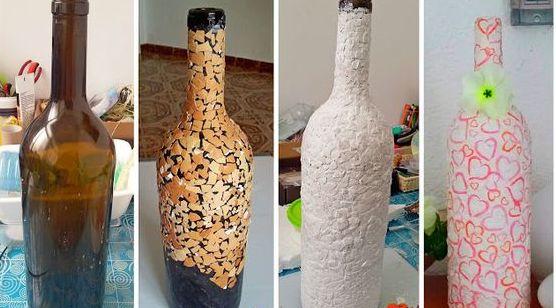 Свадебная бутылка с сердечками фото