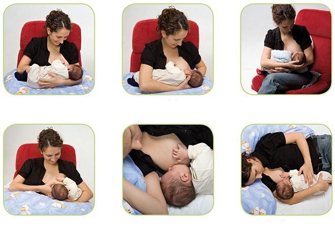 Распространенные позы кормлений грудью
