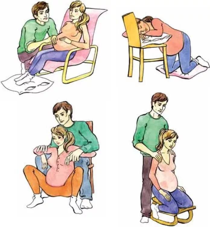 Как облегчить боль при схватках и родах: сидя на корточках, оперившись на стул.