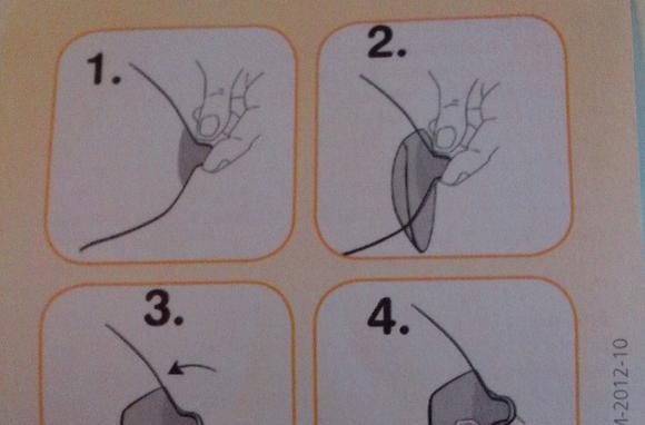 Накладки для грудного вскармливания следует надевать так, как показано на рисунке