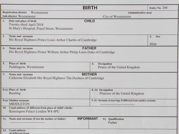 Свидетельство о рождении принца Луи - третьего ребенка принца Уильяма и Кейт Мидлтон